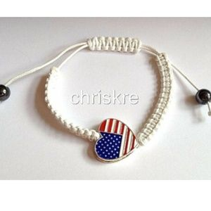 Jewelry - USA American Flag Rope Bracelet White Enamel Heart
